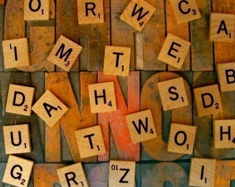 ON SALE Two Dozen Blonde Wooden Scrabble Tiles lot