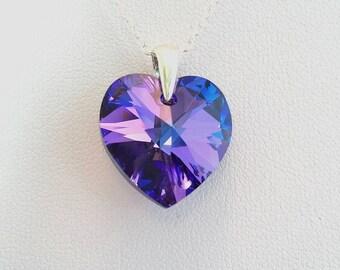 Purple Swarovski Heart Pendant, Heliotrope Crystal Necklace, Purple Pendant, Blue Jewellery, Gift For Her Under 20, Christmas Present.