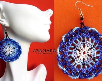 Round earring, Mexican Jewelry, Native american earrings, Mandala Earrings, Mexican folk art, Huichol Earrings, Mexican earrings, AR-0149