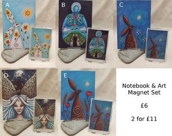 Notebook and Magnet Set, Fridge Art Magnet, A6 Notepad, Stocking Stuffer, Pagan Gift, Goddess Gift, Moongazing Hare, Pagan Art, Small Gift
