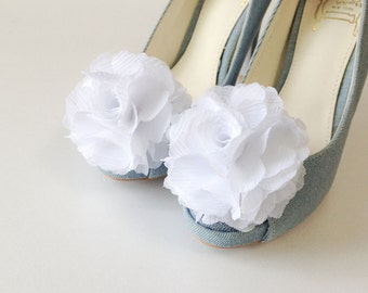 Pure White-Set of 2,Chiffon flower shoe clips for bridal wedding-Choose your Color