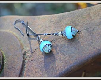 Milky Blue Glass Earrings Czech Glass and Bronze Art Deco dangle earrings