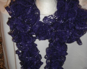 Handmade Knit  Ruffle Scarf appr 4  x 62
