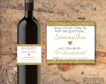 BRIDESMAID GOLD GLITTER Wine Bottle Label Proposal Gift Ideas
