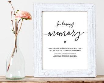 In Loving Memory, Printable Wedding Memorial Table Sign, Memory Sign, Wedding memory sign, In memory Sign, 8x10, PDF Instant Download