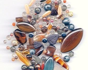 Czech Pressed Glass Beads 50 Grams Assortment Misty Mountains Mix