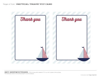 Nautical Party Thank You Cards - Printable