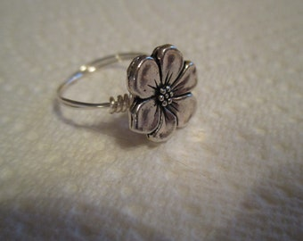 Apple Blossom Silver Button Wire Wrapped Ring, Button Ring, Wire Wrapped