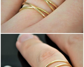 Criss Cross Ring, Gold Filled Ring, Crossover Ring, Wraparound Ring, Cross Ring, Wrap Ring, 14k Gold Filled, Alari, Gold Wrap Ring, 2 Wrap