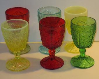 Vintage L. G. Wright Daisy And Button Goblets, Set Of Six Goblets, Excellent