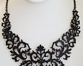 Black Chain Bib Necklace / Black statement Necklace.