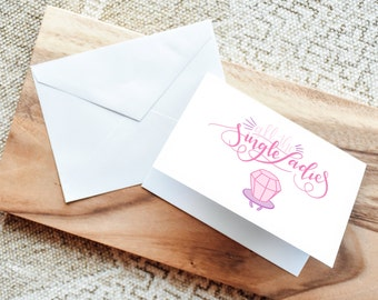 All the Single Ladies - BuffaloveNotes Folded Notecard with Envelope - Greeting Card - Personal Note - Gift