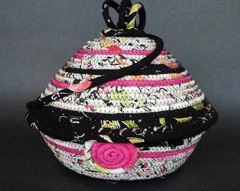 Dreamkeeper Basket, Pop of Pink, lidded basket