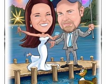 Unique caricature save-the-date, wedding invitation, portrait save the date magnets, wedding invitations