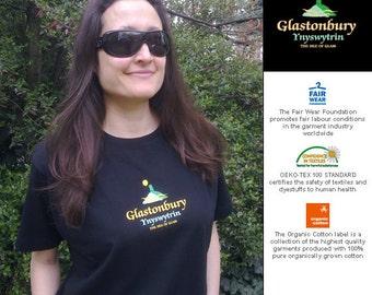 GLASTONBURY TOR T SHIRT Women's black fitted Organic Cotton T-shirt Eco Friendly, printed silkscreen