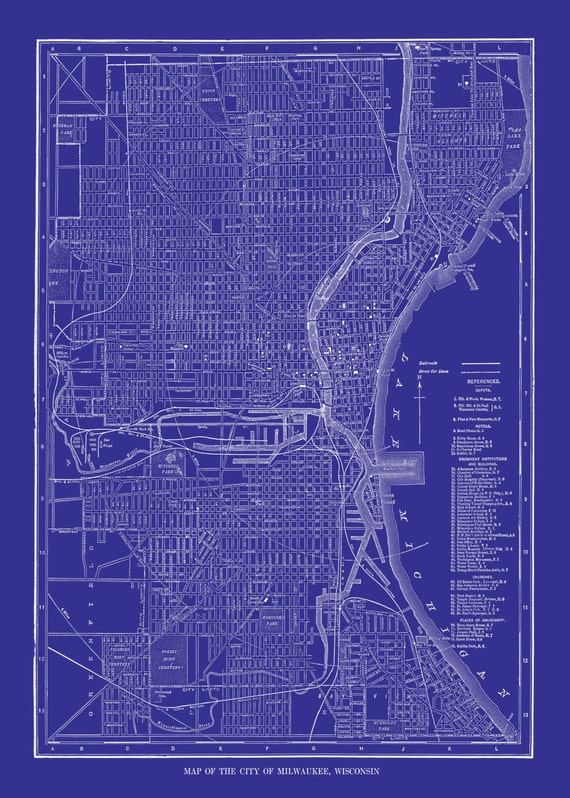 Milwaukee Map Street Map Vintage Print Poster Blue - Vintage milwaukee map
