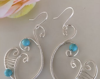 Wire Wrapped Turquoise Gemstones Earrings Loveswan Jewelry