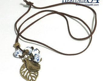 Charm necklace with leather cord, fashion necklace, with leather cord, brown color, copper charm, charm necklace