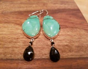 Natural Turquoise Earrings Black Garnet Drops