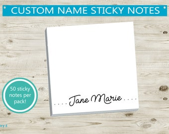 Teacher easter gift etsy custom name sticky notes personalize gift idea for coworker friend teacher appreciation custom note pad pretty wedding post it notes negle Gallery