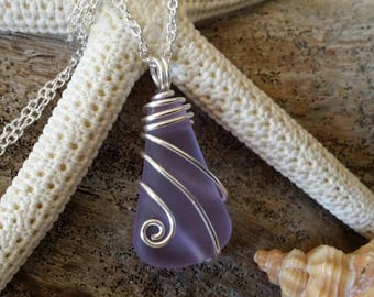 "Made in Hawaii, Wire wraped ""Magical Color Changing"" Purple sea glass necklace"