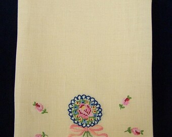 Vintage Guest Towel, Pale Yellow with Hand Embroidery
