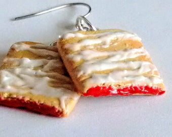 Strawberry Toaster Strudel Earrings - Miniature Food Jewelry - Inedible Jewelry, Breakfast Jewelry, Kid's Jewelry, Pastry, Fake Food Jewelry