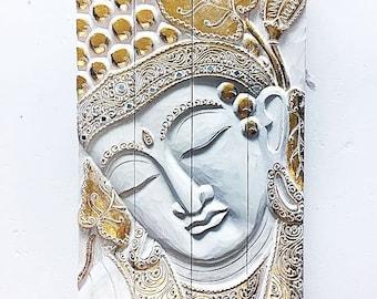 Wooden Buddha Quadruple Panel - White