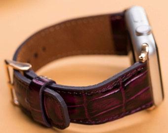 Purple watch band, 38mm women watch band, 42mm feminine watch band, leather band watch, iwatch band 42mm leather, Apple Watch series 1-2-3