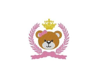 Baby Teddy Bear Girl Princess Laurel Crown Embroidery Machine Design- Instant Donwload