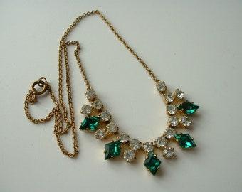 Vintage brass rhinestone necklace
