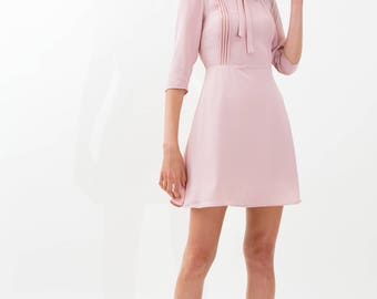 Pleats & Bow Dress / Retro Pink Dress / A Line Dress / Mini Preppy Dress / Romantic Dress / Sheer Dress / Swing Dress / 60s Dress