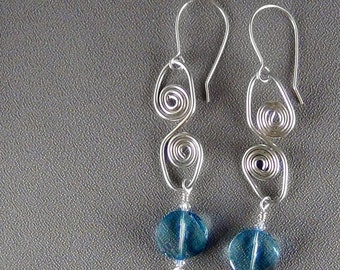 Wirewrapped Swarovski Crystal Earrings, 16ga Sterling Silver Wire - Hand Crafted Artisan Jewelry