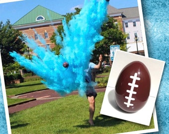 Pink & Blue! ONE empty gender reveal football with a bag of pink powder and a bag of blue powder