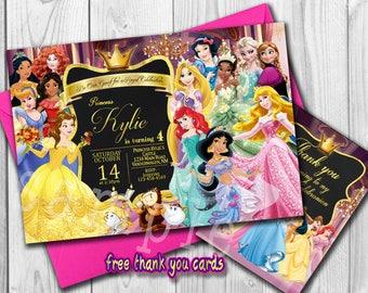 Princess Invitation,  Princess Birthday Invite, personalized, Belle, Cindrella, Snow white, Jasmine, Free thank you Cards, Digital File