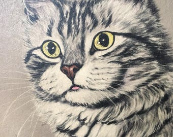 Vintage cat painting - mesmerizing yellow eyes