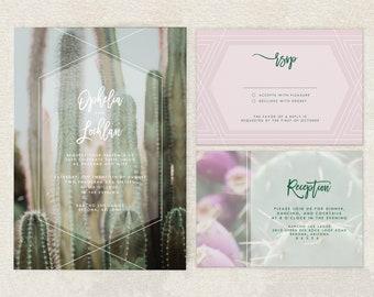 Desert Wedding Invitation Printable - Cactus Printable Wedding Invitation Suite -  Boho Wedding Invites - Bohemian Wedding Invitation Set
