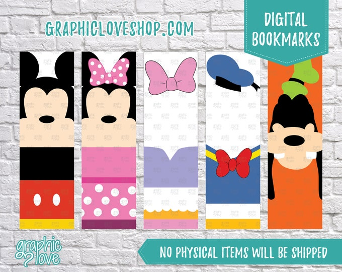 Featured listing image: Printable Mickey Mouse Clubhouse Digital Bookmarks, Set of 5 | Minnie, Donald, Daisy, Goofy | JPG File, Instant Download, Ready to Print