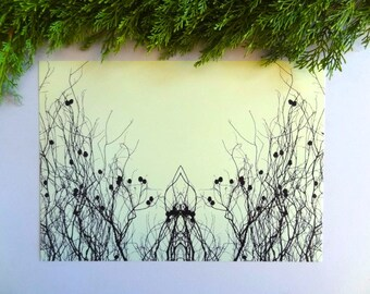 Printable art, digital download, mirror photograph, botanical wall art, greenery, mirror image, cardinal