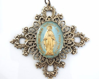 Vintage Pendant - Cross Pendant - Virgin Mary Necklace - Blue Cameo Pendant - Mother Mary jewelry - Religious Necklace - handmade jewelry