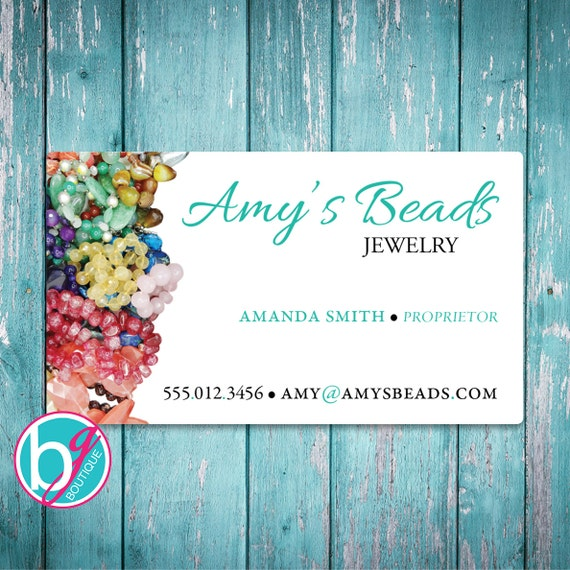 Beautiful AMY'S BEADS Business Card Premade Design • Etsy Shop Banner  YZ63
