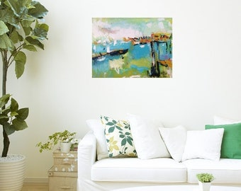 Seascape painting, seaside beach scene,  abstract seaside art and wharf in blue ocean with coastal village, Russ Potak Artist