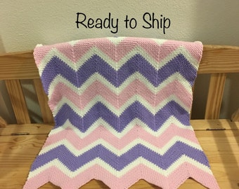 Baby Afghan Pink Purple and White Lapghan Ready to Ship Blanket
