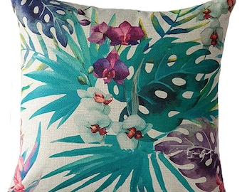 Cute decorative pillow cover with floral and tropical print.