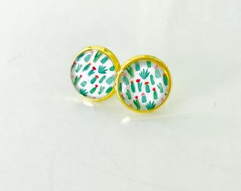 Cactus earrings, cactus studs, gold or silver, cactus jewelry, southwest