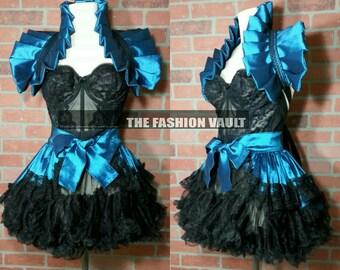 Steampunk Alice in wonderland dance costume bustle skirt and shoulder collar shrug wrap accessory
