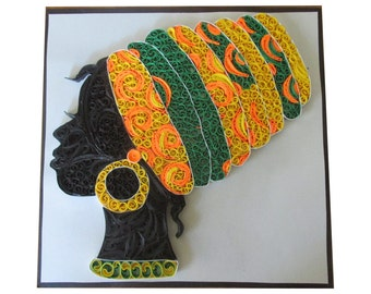 paper quilling african wall decoration