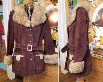Vintage 70s brown suede shearling coat