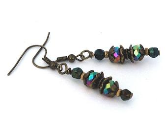 Beaded Dangle Earrings, Carnival Color Glass Pierced Drop Earrings, Bridesmaid Jewelry