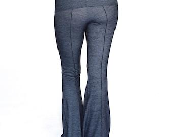 Yoga Pants, fold-over waist, YOGINI FLARES, workout dance pants, maternity clothes